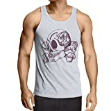 N4603V Camiseta sin Mangas Skull and Bones (X-Large Blanco