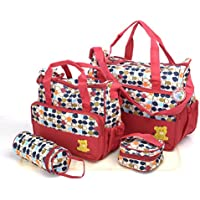 BabyHugs® 5pcs Baby Nappy Changing Diaper Messenger Hospital Maternity Bag Set with Leaves Print Design - Maroon Red