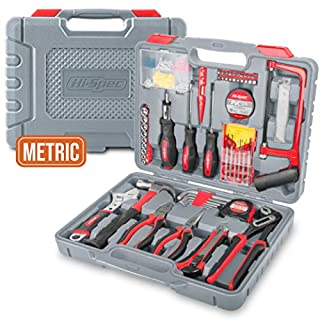 Hi-Spec 120pc Home & Garage Tool Set with Long Nose Combination & Slip Joint Pliers, Adjustable Spanner, Claw Hammer, Hacksaw, Screwdriver & Bit Set, Metric Sockets & More in Storage Case