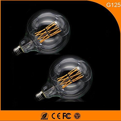 OOFAY 2 STÜCKE Led-lampe 10 Watt E27 G125 Retro Einstellbare Glühbirne warmweiß 1000LM Klar AC220V, 125 * 176 (mm) -