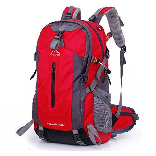 Broki zaino da 45 litri per viaggi, campeggio, escursionismo, scuola – 3 colori, Red