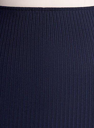 oodji Ultra Damen Rock Gerippt mit Elastischem Bund Blau (7900N)