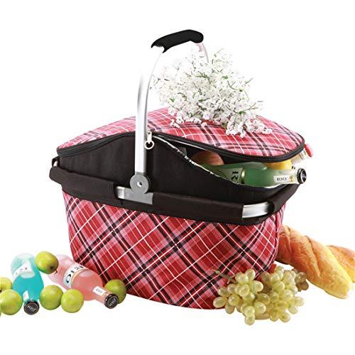Lhy travel grande borsa pranzo picnic cool basket oxford panno pieghevole portatile in alluminio film lunch box isolante adatto per attività all'aperto, picnic tour primaverile e così via.