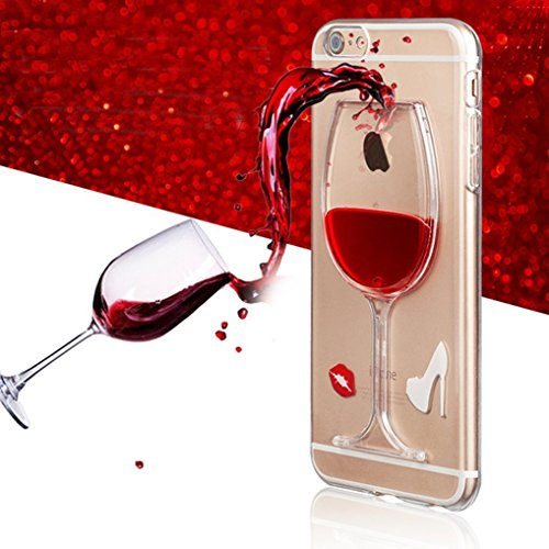 iPhone SE Hülle Silikon,iPhone SE Hülle Transparent,iPhone SE Hülle Glitzer,iPhone 5S Clear TPU Case Hülle Klare Ultradünne Silikon Gel Schutzhülle Durchsichtig Rückschale Etui für iPhone 5,iPhone 5S  P Wine Glasses 1
