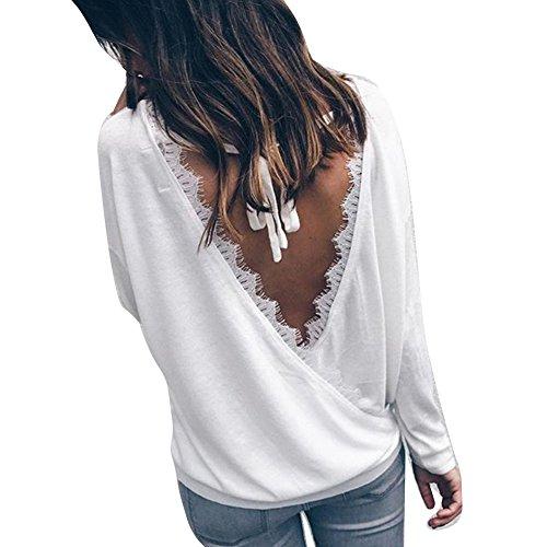175b89dde107c1 Hibote Femme Sweatshirt à Manches Longues Chemise Loose Fit Chemises en  Coton Dos Nu Haut Femmes