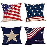 Set von 4Patriotische amerikanische Flagge 4. Juli inspiriert Überwurf Kissenbezügen, Stars und Stripes Vintage Usa Flagge Baumwolle Leinen Kissen Kissen quadratisch 45,7x 45,7cm 18x18 inches Stil Nr. 4