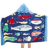 YunNasi Asciugamano da Bagno con Cappuccio per Bambini Bambine - Asciugamani Assorbenti 100% Cotone per Bagno Spiaggia (127 * 76 cm) (Famiglia di Pesci)