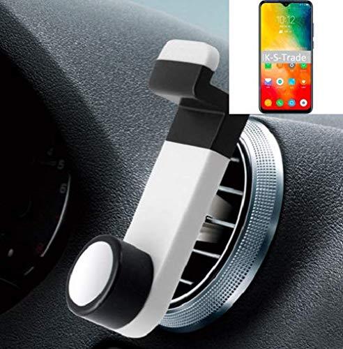 K-S-Trade® Smartphone Halterung Autohalterung Für -Lenovo K6 Enjoy- Lüftungshalterung Handy Halter Lüftungsgitter Smartphonehalterung Weiß