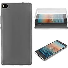 Urcover® Huawei P8 | Funda Carcasa 360 Grados Ultra Slim Metálico | TPU en Negro | Case Cover Protección completa Smartphone Móvil Accesorio