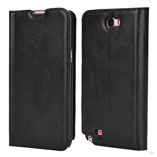 Custodia Samsung Galaxy Note 2, Mulbess Slim Style Flip Caso Pelle Premium Portafoglio Custodia per Samsung Galaxy Note 2 Cover,Nero