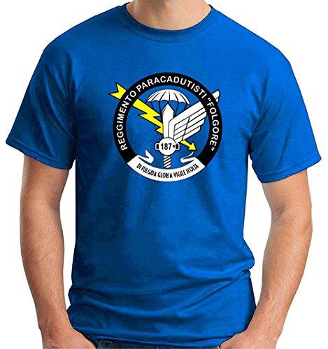 Cotton Island - T-shirt T0317 Regimento paracadutisti folgore militari, Taglia (Militari T-shirt)