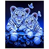 SODIAL 5D DIY Tiger & Butterfly Magic Circle Diamond Painting Living Room Bedroom Cross Stitch Painting Home Decoration Gift