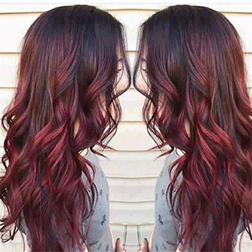 Peluca Hondulado Rizado Liso Pelucas Largas Cortas High-Temperature Marrón Negro Rosa Rojo para Mujer...