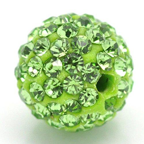 Cuff Capri (8MM Disco Kugeln Perlen aus Ton Tschechische Kristall Shamballa Pavé Premium Qualität, grün, 50PCS)