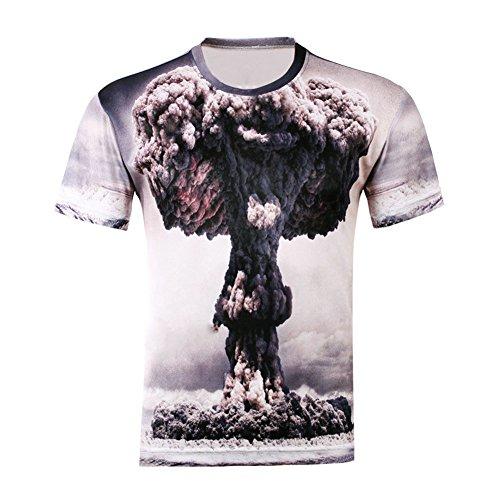 Andy's Share, Damen Herren Shirt Bluse 3D Print Kurzarm Design Tops Hemd T-Shirt (L, D)