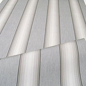 TOLKO Sonnenschutz Markisen-Stoffe als Meterware Zum Nähen mit UV-Schutz 50+   Wasserdicht, Extra Langlebig - Ohne Ausbleichen (Grau Zinn Gestreift)