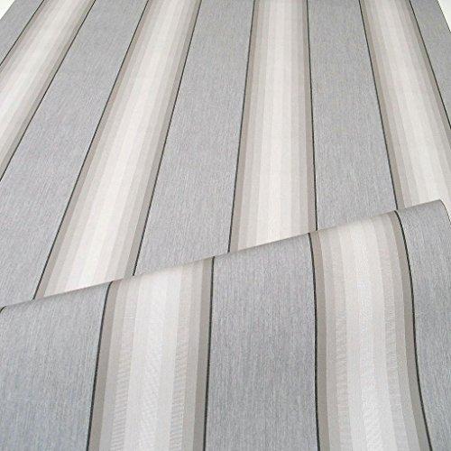 TOLKO Sonnenschutz Markisen-Stoffe als Meterware Zum Nähen mit UV-Schutz 50+ | Wasserdicht, Extra Langlebig - Ohne Ausbleichen (Grau Zinn Gestreift)