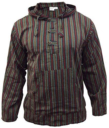 Shopoholic Mode Mehrfarbig Dharke streifen Opa Kapuzenpulli Hemd,Leicht GRÜN MIX