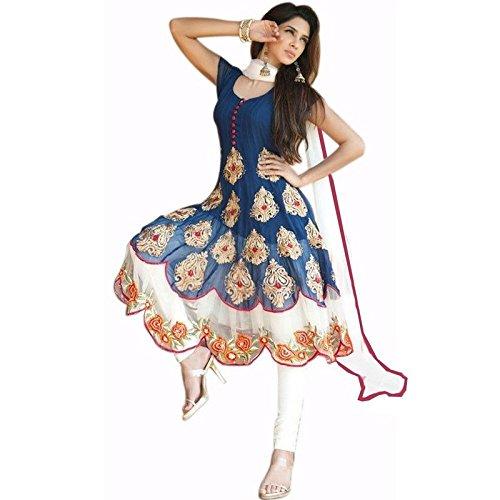 Market Magic World Women's Georgette Semi stitched Anarkali Salwar Suits Sets (Free Size_ Blue _Dress_MMW2088)