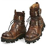 SLGJYY FashionLeather Militäruniform Stiefel Gothic Schädel Punk Martin Plattform Mitte der Wade Stiefel Steampunk Schuhe