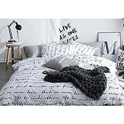 LIMING Funda de edredón de una Pieza para Estudiante Funda de edredón para Dormitorio de algodón con Rayas Blancas y Negras (Color : E, Tamaño : 200cm*230cm)