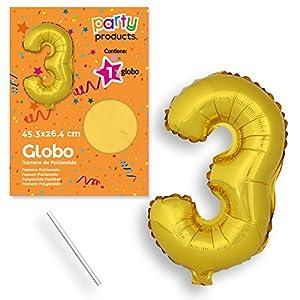 Party Globo Poliamida 45 cm, Numero 3, Color Oro (68446)