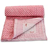 Mom's Home Organic Cotton Baby Quilt - Butterfly Print- Pink- 0-5 Years - 100*150 * 5 Cms