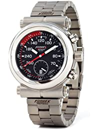 Formex 4 Speed TS350 - Reloj cronógrafo de caballero de cuarzo con correa de acero inoxidable plateada (cronómetro) - sumergible a 100 metros