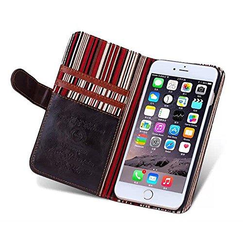 iPhone 6Cas, de haute qualité pour téléphone sac multifonction Support PU Housse en cuir pour iPhone 4.7 marron