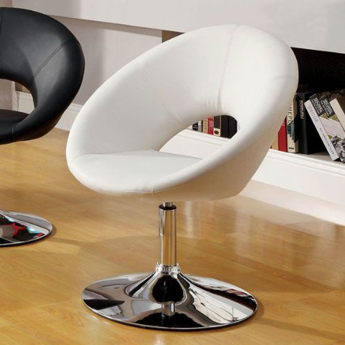 White Finish Contemporary Style Leatherette Padded Swivel Chair by Furniture of America
