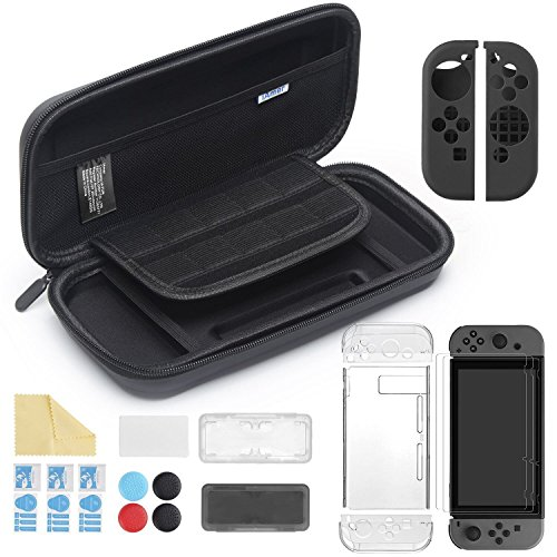 iAmer 11 in 1 Zubehör für Nintendo Switch, Tasche für Nintendo Switch and Transparent Hülle and 3 Displayschutzfolie and Silikon Joy-Con Tasche and Game Card Tasche -