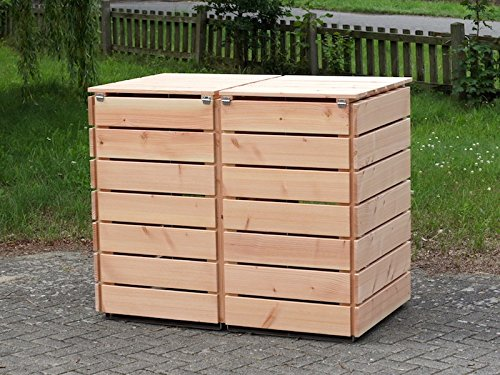 2er Mülltonnenbox / Mülltonnenverkleidung 240 L Holz, Douglasie Natur - 4