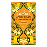 Pukka Lemon, Ginger & Manuka Honey, Organic Herbal Tea Bags (4 Pack, 80 Tea bags)