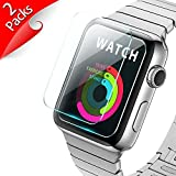 [New Enhanced] 38mm Apple Watch Screen Protector - iXCC 2-Pack Tempered Glass Screen Protector [Anti-bubble