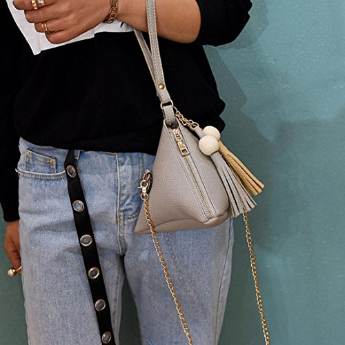 Familizo Borsa piccola borsa della borsa delle signore di Tote del sacchetto di spalla della borsa di modo delle donne Grigio