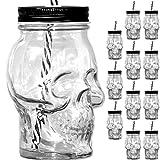 Unbekannt [ 12 Stück ] Trinkglas Cocktailglas Totenkopf 500ml mit Deckel und Strohhalm Becher aus Glas