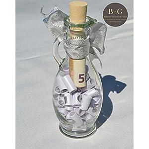 Geldgeschenk kreativ und originell verpacken, personalisiert (kleine Flasche mit Sprüchen und Zitaten zur Hochzeit & zum Geburtstag, Dankeschön Geschenke), Gold Elfenbein mit extra Streifen