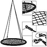 Altalena per alberi, corda per bambini nera altalena appesa all'aperto relax rete tonda nido Web Altalena amaca sedia sedia da giardino Altalena per bambini carico 200 kg
