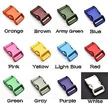 Hebillas de plástico colorido contorneado para pulseras o mochilas Paracord (12 unidades de 25 mm).