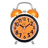 Vintage Style Analog Quartz Quartz Double Bell Bedside Alarm Clock 3 Inch Large Dial Alarm Clock Function with Loud Sound, No Ticking, Night Light (Orange)