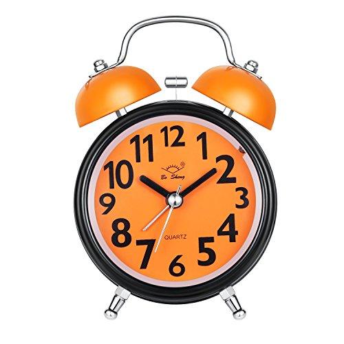 Sveglia da comodino stile vintage, analogica, al quarzo, a doppia campana,3 pollici grande quadrante funzione sveglia con allarme sonoro forte, senza ticchettio, luce notturna (arancione)