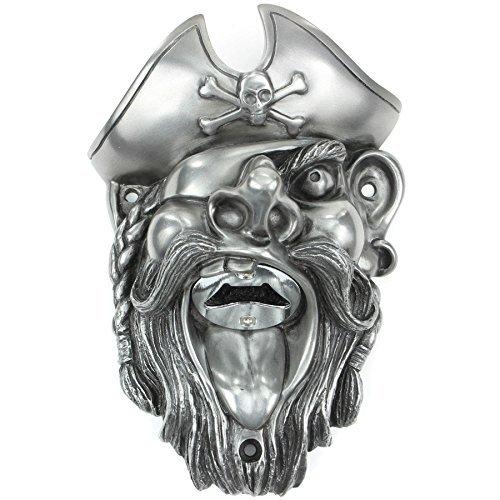 Beer Buddies Flaschenöffner zur Wandbefestigung–Pirat (Silber) (Piraten-flaschenöffner)