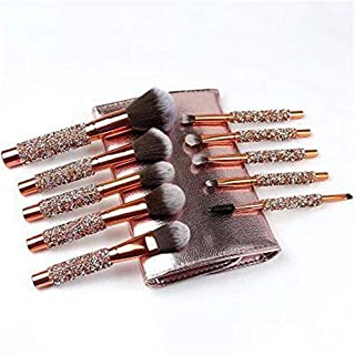 Makeup Brush Set 10pcs Professional Matte Rose Gold Makeup Brush Makeup Brush Eyeshadow Face Brush Eyeliner with Elegant Travel Case PU Leather