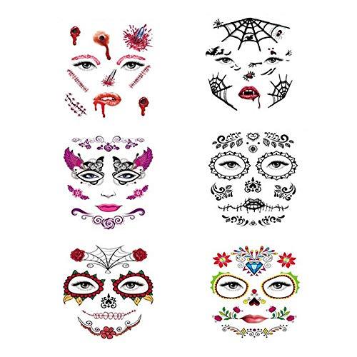 Kungfu Mall 6PCS Halloween Face Tatuajes temporales