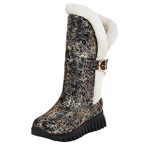 TAOFFEN Damen Mode Print Keilabsatz Schneestiefel Winter Warm Halbe Stiefel Gold