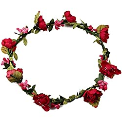 Mujeres chicas Boho Diademas de flores, Tukistore Tocado nupcial de la corona de la corona de Halo de la corona del pelo de la corona para el festival de boda