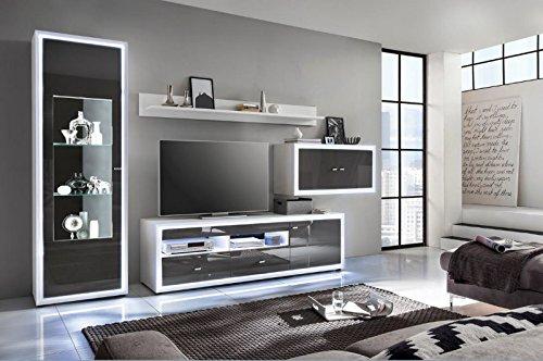 Wohnwand 'Move 2' Hochglanz lackiert Weiß Grau Vormontiert