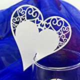 Anself ¡Amor! 36pcs Tarjeta de boda de nombres de invitaciones romántica blanca tallado de corazón de copa de tabla de la marca de lugar tarjeta para boda cumpleaños fiestas