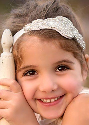 handmadejewelrylady hecho a mano flores niña diadema boda corona diadema bebé niña Crystal Tiara diadema