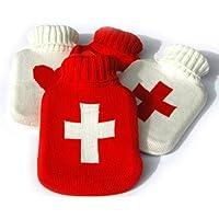 Wellness Wärmflasche weißes Kreuz 1l in rotem Strickbezug - wohltuende angenehme Wärme preisvergleich bei billige-tabletten.eu